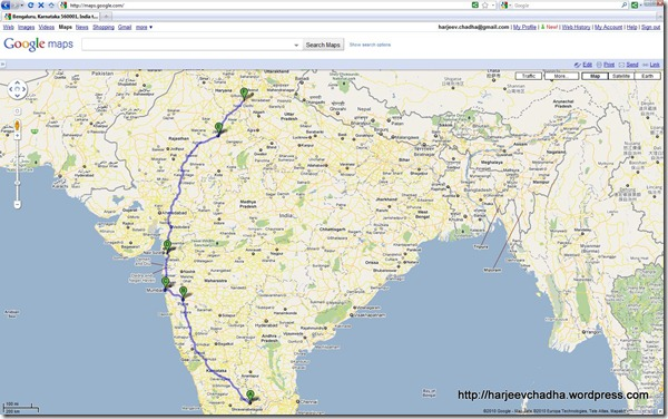 Map Bangalore to Delhi Aug2010