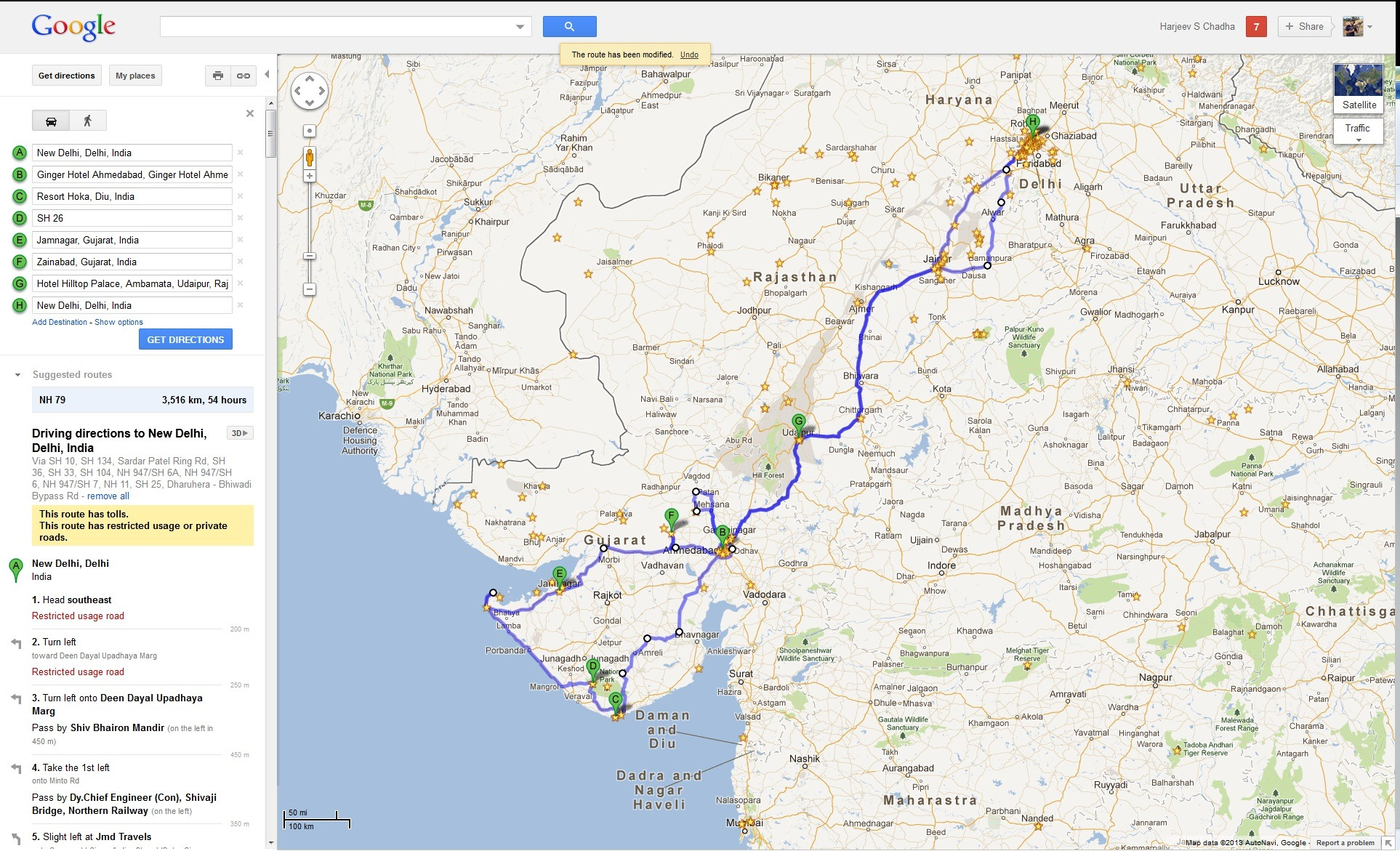 Detailed Road Map of Rajasthan