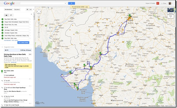 Google Map Print Screen of Proposed Trip