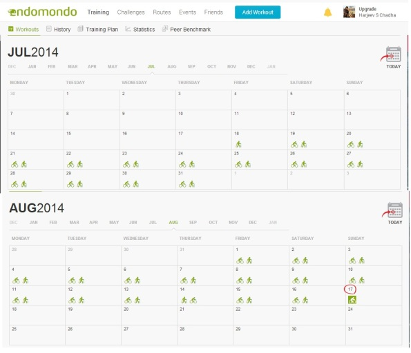 30Day Workout Calender - Endomondo